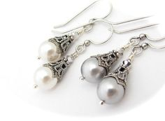 White Pearl Earrings or Silver Pearl Earrings Swarovski Crystal Pearls Wedding Jewelry on Etsy, $12.75