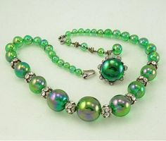 Glowing Green NETTIE ROSENSTEIN Sterling Necklace Earring