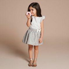 | Hucklebones | Lace Flutter Sleeve Top $79.20; Metallic Spot Skirt - Blue / Gold$90.75
