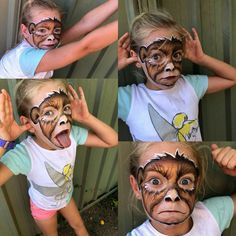 Best monkey face paint.. Kids Makeup, Cat Makeup, Face Painting Designs, Body Painting, Monkey Makeup, Monkey Face Paint, Aladdin Musical, Cute Monkey, Face Design