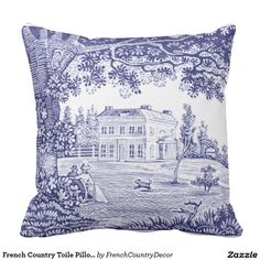 """French Toile in Blue...Your Custom Throw Pillow 20"""" x 20"""""""