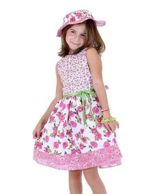 Look at this Dolce Liya Pink & White Floral Dress & Sunhat - Infant, Toddler & Girls on today! Toddler Girl Dresses, Flower Girl Dresses, Toddler Girls, Fashion Kids, Kids Formal Wear, White Floral Dress, Sewing For Kids, Sewing Ideas, Dress Hats