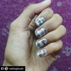 """Plaid stamping nails!! If you look close there's hidden houndstooth in there too ;) #Repost @nailingitrush with @repostapp.  My entry for the #nailstieschallenges for """"Monochrome Nails"""".. I decided to do a plaid stamping mani as this was something I haven't done yet on my nails  Polishes used: #NailTrend Pearl White Local black stamping polish @bornprettynailart #BPL006  #nails #nailart #nailfie #nailart #color #nailartist #nailsofig #nailsofinstagram #plaid #plaidnails #promotemynails…"""