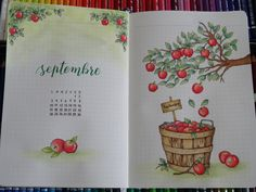 Bullet journal monthly cover page, August cover page, Harry Potter drawing. Bullet Journal September Cover, January Bullet Journal, Bullet Journal Cover Page, Bullet Journal Ideas Pages, Bullet Journal Spread, Bullet Journal Inspo, Bullet Journal Layout, Journal Covers, Bullet Journal Savings Tracker
