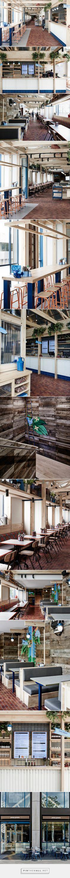 exposed timber frame highlights interior of techné's souvlaki restaurant - created via https://pinthemall.net