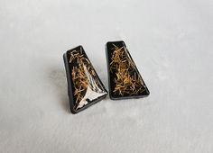 Gold Wire Asymmetrical Black Resin Earrings - Simple Elegance Handmade Resin Jewelry and Accessories
