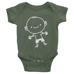 100% made in the U.S.! Olive Green infants short sleeve boys onesie. Comfortable and just adorable - Little TroubleMakers.
