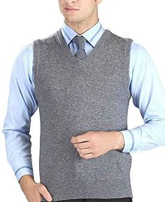 46fde7e38042c Buy Nidicus Mens Solid V-Neck Classic Western Basic Sweater Vest Mid Gray L