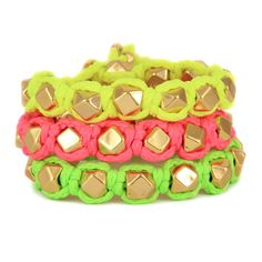 Ettika Faceted Bead Neon Bolo Cord Bracelets - I want to try and make? Neon Jewelry, Punk Jewelry, Bead Jewellery, Beaded Jewelry, Neon Accessories, Fashion Accessories, Fashion Jewelry, Ancient Bracelet, Slap Bracelets