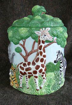 African Safari Cookie Jar Canister with Elephant, Giraffe, Zebra, Tiger, Leopard
