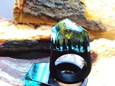 Wood Resin Rings, Custom Order Forest  Ring ,Environmental Ring For Gift, Unique Ring Creative0  18mm