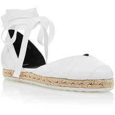 Pierre Hardy Bauhaus Beach Espadrille in White Denim ($525) ❤ liked on Polyvore featuring shoes, sandals, white sandals, denim sandals, ankle wrap sandals, white lace up sandals and flat shoes