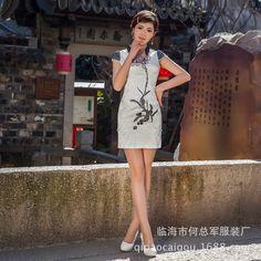 Дешевое Новый китай фамилия ветер элегантность вышивка элегантный cheongsam оптовая продажа чернила лотоса тонкий, Купить Качество Китайские женские халаты непосредственно из китайских фирмах-поставщиках: Продукты Информация о продукте Название жаккард хлопок платье бренда Что флаг воротник стиль Круглые н