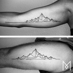 Minimalistic mountainscape tattoo. Would look amazing horizontally on ribs.