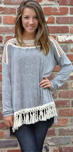 Hollow Out Tassels Embellished T-Shirt