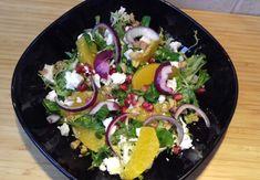 narancsos rukkola saláta fetával Cobb Salad, Feta, Tacos, Ethnic Recipes, Fitness