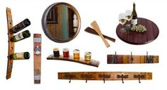 WINE BARREL ACCENTS & ACCESSORIES  At Revampt, we've got a wide variety of functional wine barrel products – wall hooks, bottle holders, lazy Susans, and more! Reclaimed. Repurposed. Recycled.