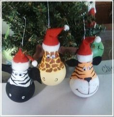 Zebra, Giraffe and Tiger Lightbulb ornaments (picture only)