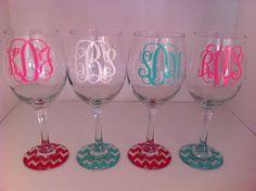 Set of 4 monogrammed wine glasses with chevron base. $40.00, via Etsy.