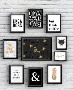 {Free printable} 10 posters black and gold!