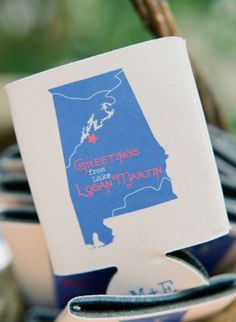 custom Alabama koozies! | Melissa Schollaert #wedding Need a texas one with stars on where we are each from
