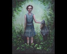 Beryl Loves Her Shoebill Bird, Original Painting, Pet, Bird, Aviary, Forest, Fairy Tale, Folk Tale, Surreal, Woman, Blue Dress, Shoe Bird by mygoodbabushka on Etsy