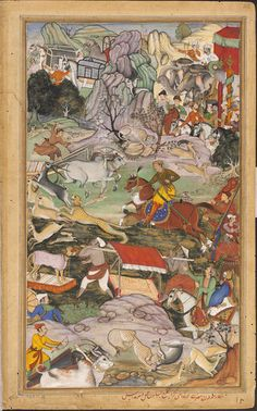 This illustration to the Akbarnama by Basawan and Dharmdas depicts Akbar hunting with cheetahs in the neighbourhood of Agra. The emperor was particularly fond of hunting and frequently participated in this exciting sport. Here, Akbar is the central figure on horseback chasing a cheetah. Other members of the hunting party are shown also participating in the capture of animals on foot, horseback and riding on elephants.