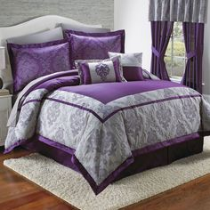 Purple Bedroom Ideas: How to Decorate Your Bedroom With Purple Purple Bedspread, Purple Comforter, Purple Bedding Sets, Grey Comforter Sets, Purple Bedrooms, Purple Bedroom Decor, My New Room, Dream Bedroom, Bed Spreads