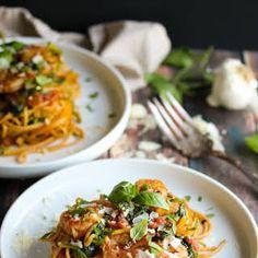 30 Minute Shrimp Pasta Primavera with Zoodles Recipe Zoodle Recipes, Spiralizer Recipes, Fish Recipes, Seafood Recipes, Pasta Recipes, Whole Food Recipes, Chicken Recipes, Keto Recipes, Seafood Dishes