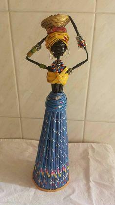 Yarat c Projeler Gazete ka tlar ndan dekoratif Afrikal k zlar Decorative African girls from newspaper papers Recycled Paper Crafts, Newspaper Crafts, African Dolls, African Girl, Diy Home Crafts, Fun Crafts, Arts And Crafts, Rolled Paper Art, African Crafts