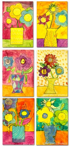 Kids draw flowers with a marker and use liquid watercolor paints to add glorious color. Kids art gallery