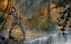 Лара Крофт с луком стоит в воде среди руин и черепов - авы, аватарки, картинки