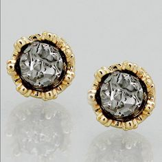❣SALE❣ Gold Tone Hematite Tone Simulated Druzy Stud Earrings.  Earrings are a little more that 1/4 inch in diameter.  Item tag states: Not intended for children 14 and under. Jewelry Earrings