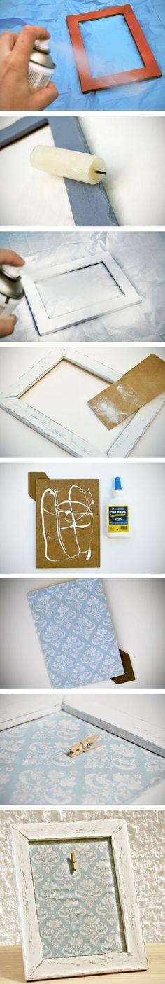 DIY. Cómo hacer un marco vintage decapado con chalk paint y decorado con papel de scrapbooking.