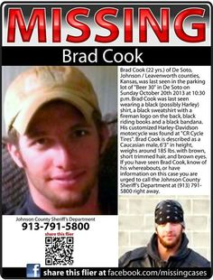 10/20/13: Brad Cook,22, is MISSING from Olathe, KS.