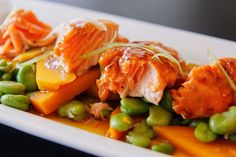 Salmon with Gingered Pumpkin and Broadbeans. Try this delicious recipe from the Best of NZ Food. Created by Ray McVinnie.
