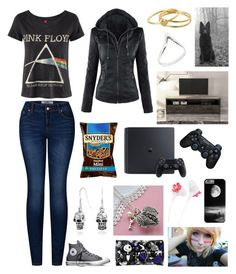 """""""I'm not going outside if I can see my breath ~Hailey"""" by weredragon360 ❤ liked on Polyvore featuring 2LUV, Converse, Disney, Forever 21, Martha Jackson, Gorjana, Sony and Huppé"""