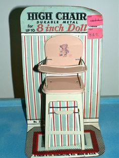 Vintage tin litho doll high chair