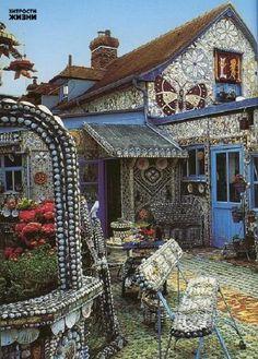Mosaic House from broken crockery, shells, iridescent glass, porcelain by Robert Vasseur