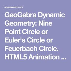 GeoGebra Dynamic Geometry: Nine Point Circle or Euler's Circle or Feuerbach Circle. HTML5 Animation for Tablets. Level: School, College, Mathematics Education. Distance learning.