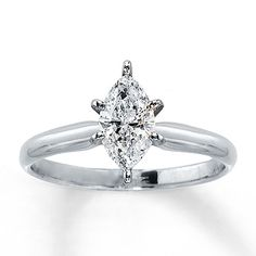 Diamond Solitaire Ring 3/4 Carat Marquise-cut 14K White Gold