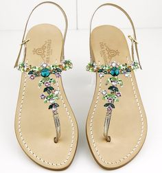 Green Swarovski colors.  Dea Sandals Capri shop at www.deasandals.com  #fashion #caprisandals #fashionblogger #style #shoes #sandaligioiello #sandals #cuoioditoscana  #swarovski #jewel