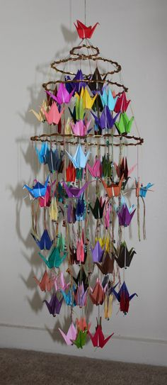 Origami Crane Mobile 4th...make this as collaboration art and give to homeroom teachers as a present?