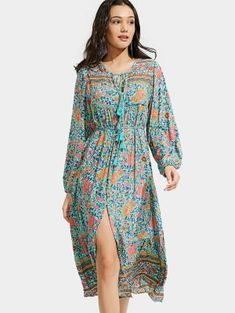 Front Slit Floral Tassels Long Sleeve Dress - Floral M