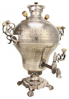 Russian Engraved Samovar. RUSSIAN SILVER PLATED AND CHASED SAMOVAR, 19TH CENTURY Vintage Silver, Antique Silver, Russian Tea, Tea Culture, Cafetiere, Tea Caddy, Teapots And Cups, Tea Service, Deco Table