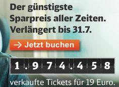 Bahn: Sparpreis-Aktion mit 19-Euro-Tickets bis Juli verlängert https://www.discountfan.de/artikel/reisen_und_bildung/bahn-sparpreis-aktion-mit-19-euro-tickets-bis-juli-verlaengert.php Die Bahn hat ihre Sparpreis-Aktion verlängert. Tickets zum Pauschalpreis von 19 Euro können jetzt bis zum 31. Juli 2016 gebucht werden, spätester Reisetag ist der 10. Dezember 2016. Bahn: Sparpreis-Aktion mit 19-Euro-Tickets bis Juli verlängert (Bild: Bahn.de) Die Sparpreis-Tickets der Ba