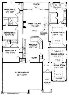 Traditional, 4 Bedroom, 1 Story. 3 car Garage