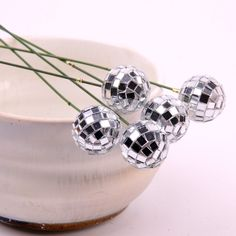Disco Ball Mirrored Floral Picks Set of 5 New by thecraftparty