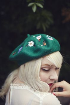 *** THIS BERET IS CURRENTLY ON PRE-ORDER AND WILL BE DISPATCHED IN LATE OCTOBER *** ♥ This cutest Woodland embroidered beret with an enchanted print of bunnies,