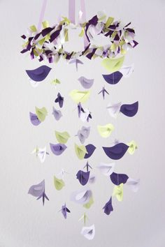 Purple Lavender Green Bird Nursery Mobile, Baby Shower Gift, Photographer Prop